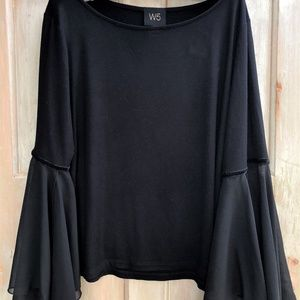W5 Black T with Chiffon-like Sleeves